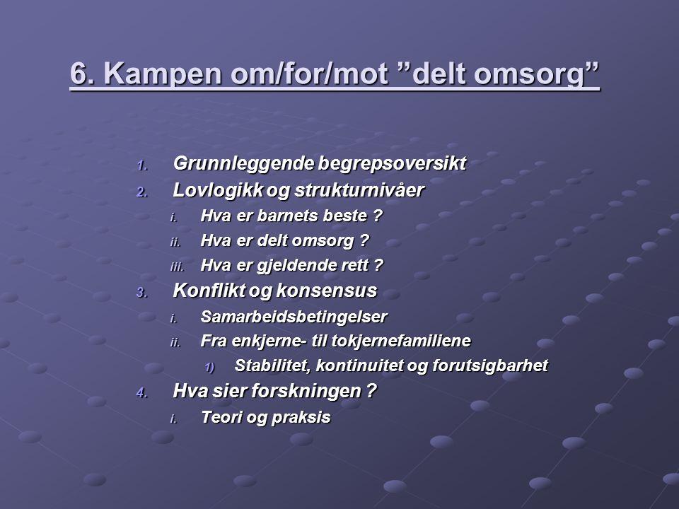 6. Kampen om/for/mot delt omsorg