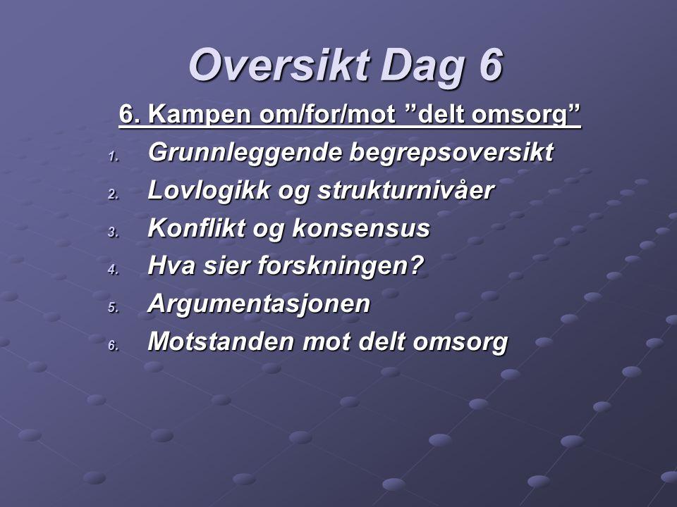 Oversikt Dag 6 6. Kampen om/for/mot delt omsorg