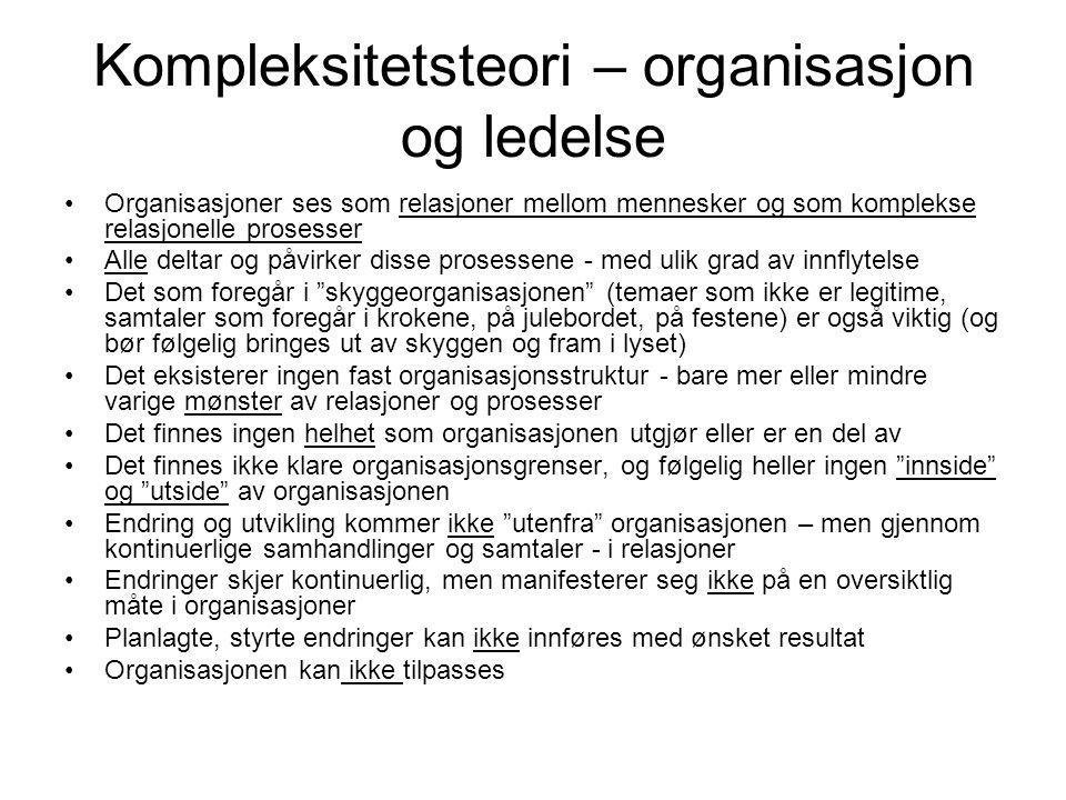 Kompleksitetsteori – organisasjon og ledelse