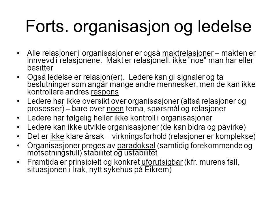 Forts. organisasjon og ledelse