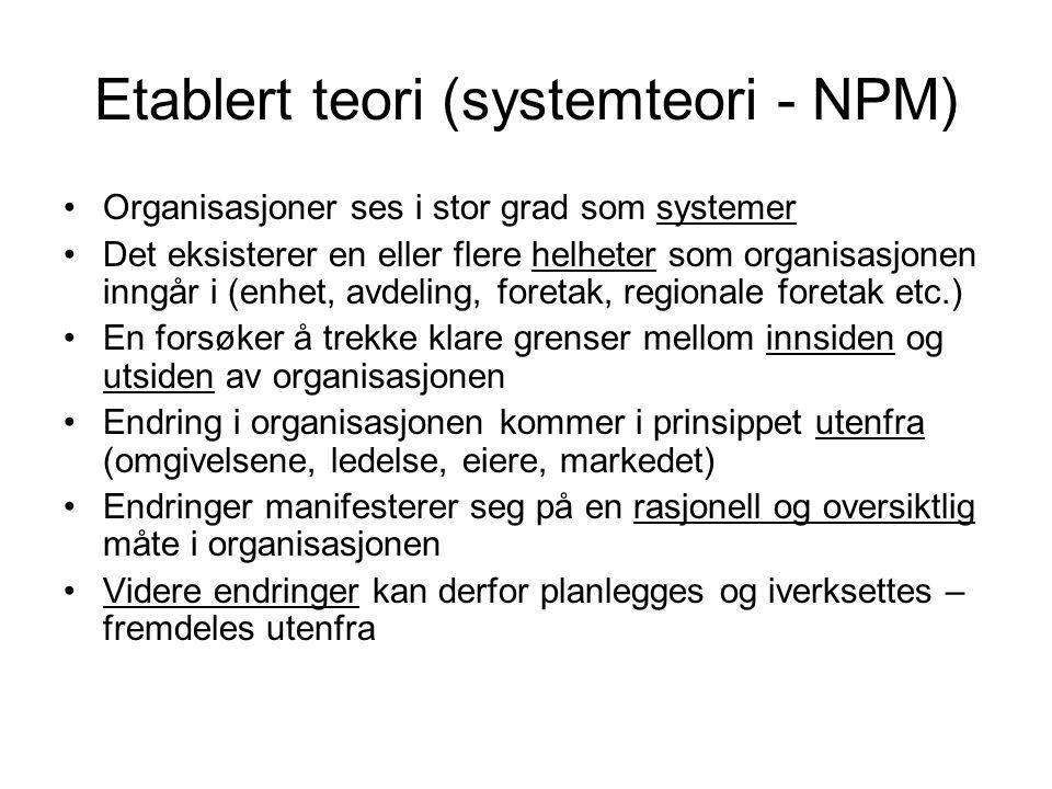 Etablert teori (systemteori - NPM)