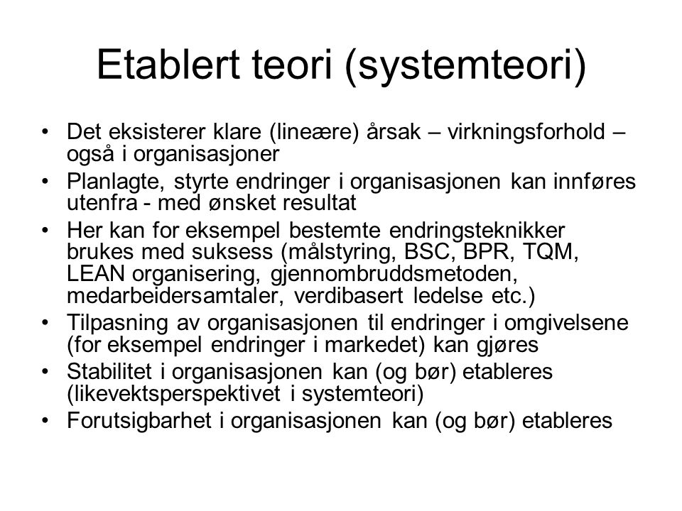 Etablert teori (systemteori)