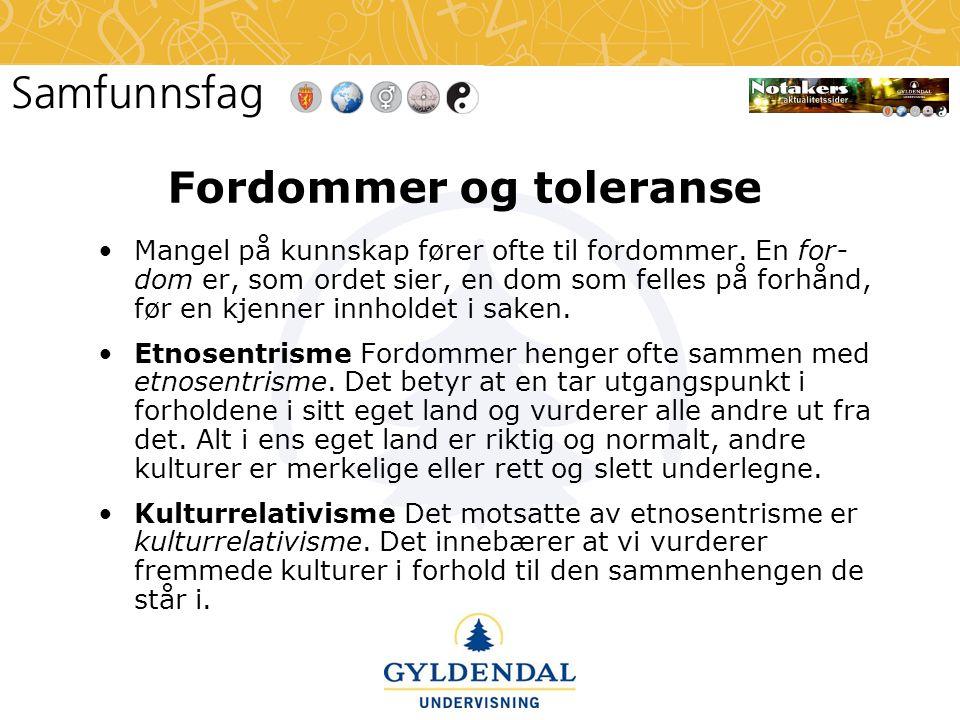 Fordommer og toleranse