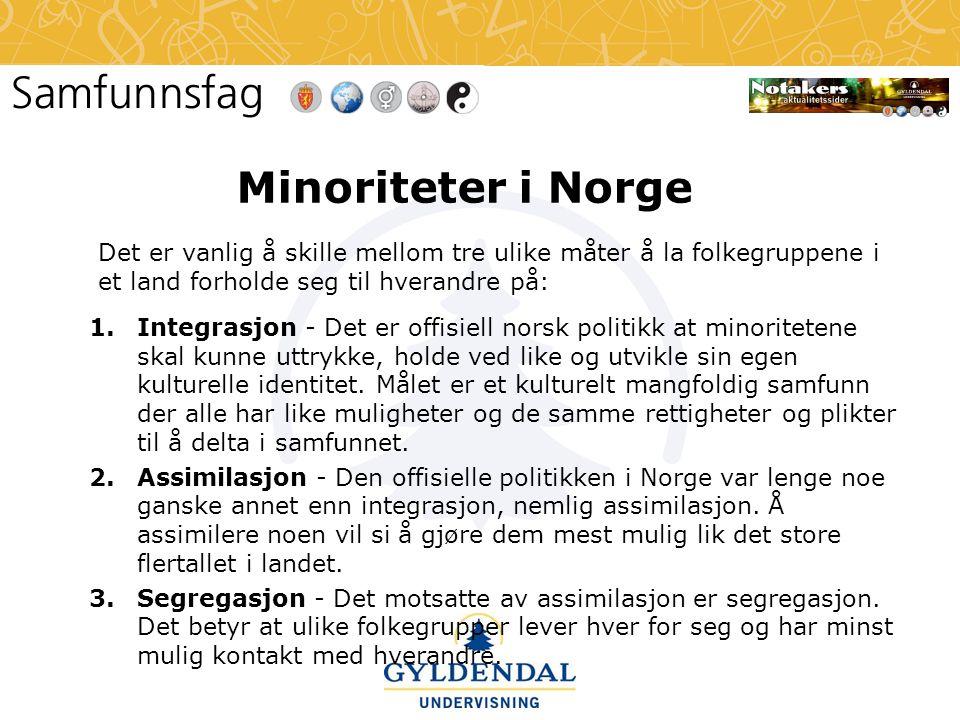 Minoriteter i Norge Det er vanlig å skille mellom tre ulike måter å la folkegruppene i et land forholde seg til hverandre på: