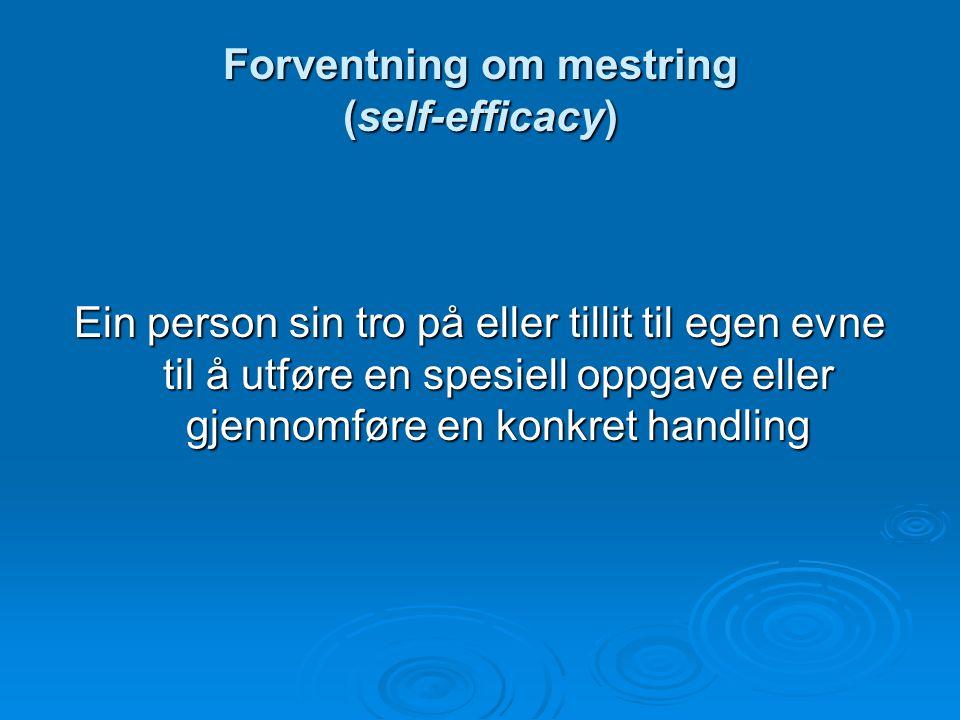 Forventning om mestring (self-efficacy)