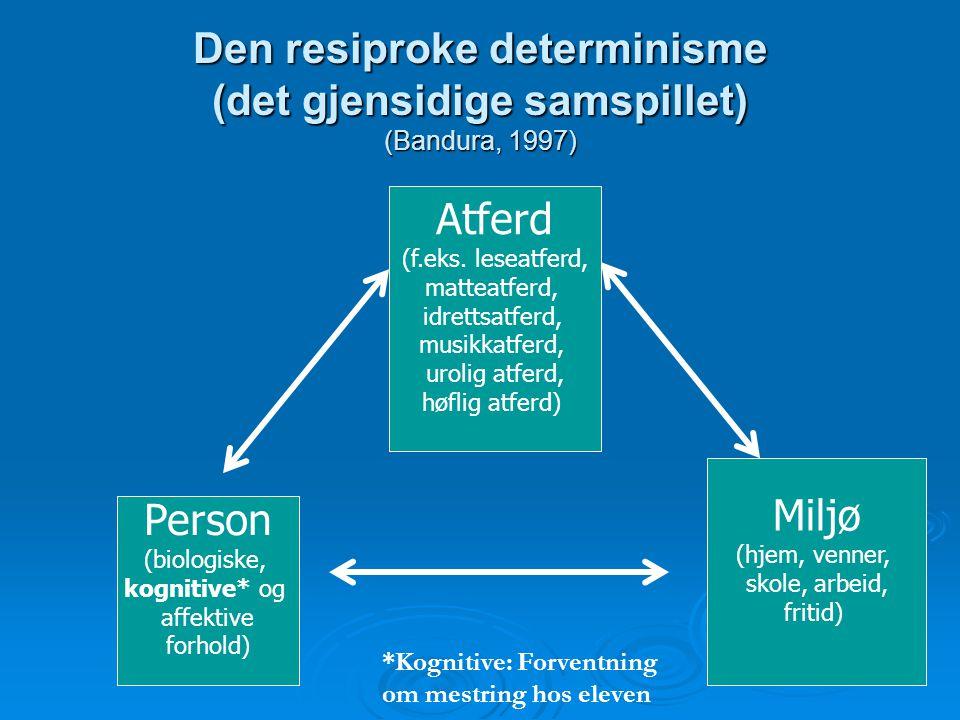 Den resiproke determinisme (det gjensidige samspillet) (Bandura, 1997)