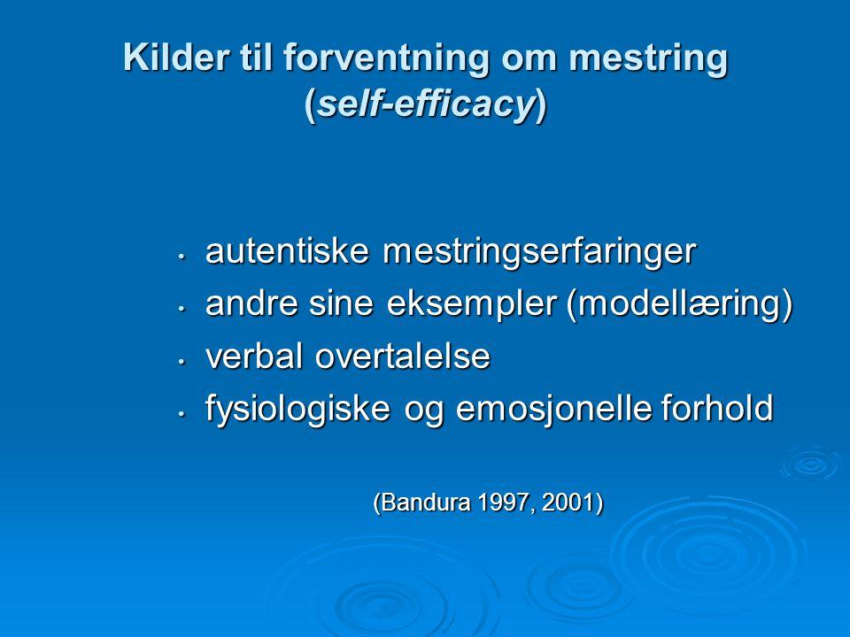 Kilder til forventning om mestring (self-efficacy)