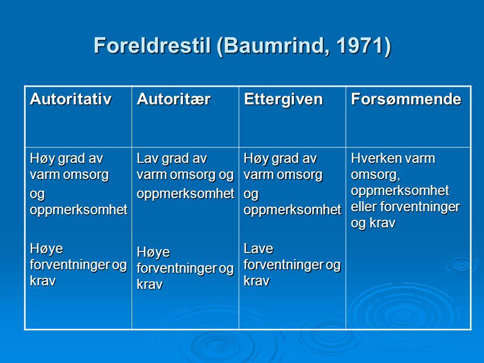 Foreldrestil (Baumrind, 1971)
