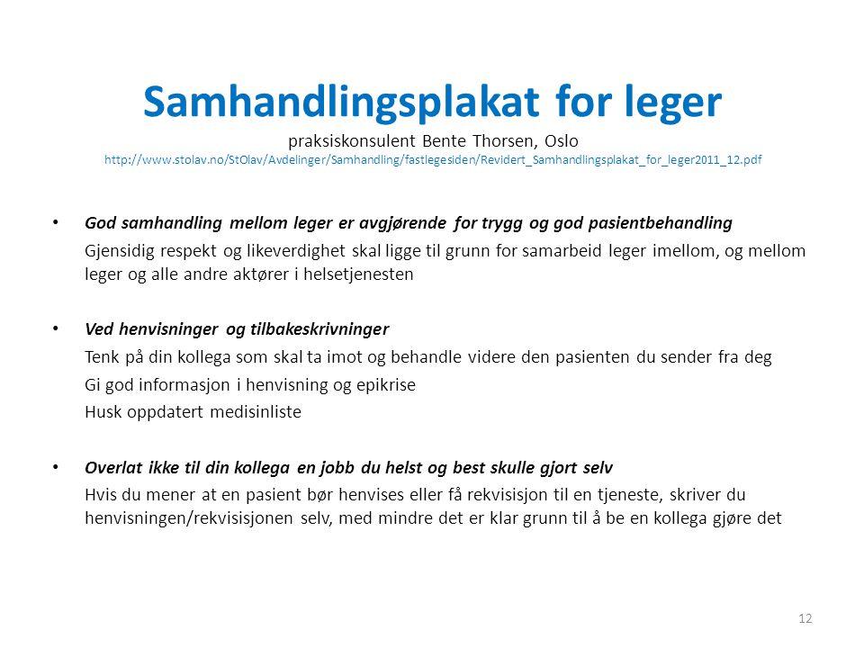 Samhandlingsplakat for leger praksiskonsulent Bente Thorsen, Oslo http://www.stolav.no/StOlav/Avdelinger/Samhandling/fastlegesiden/Revidert_Samhandlingsplakat_for_leger2011_12.pdf