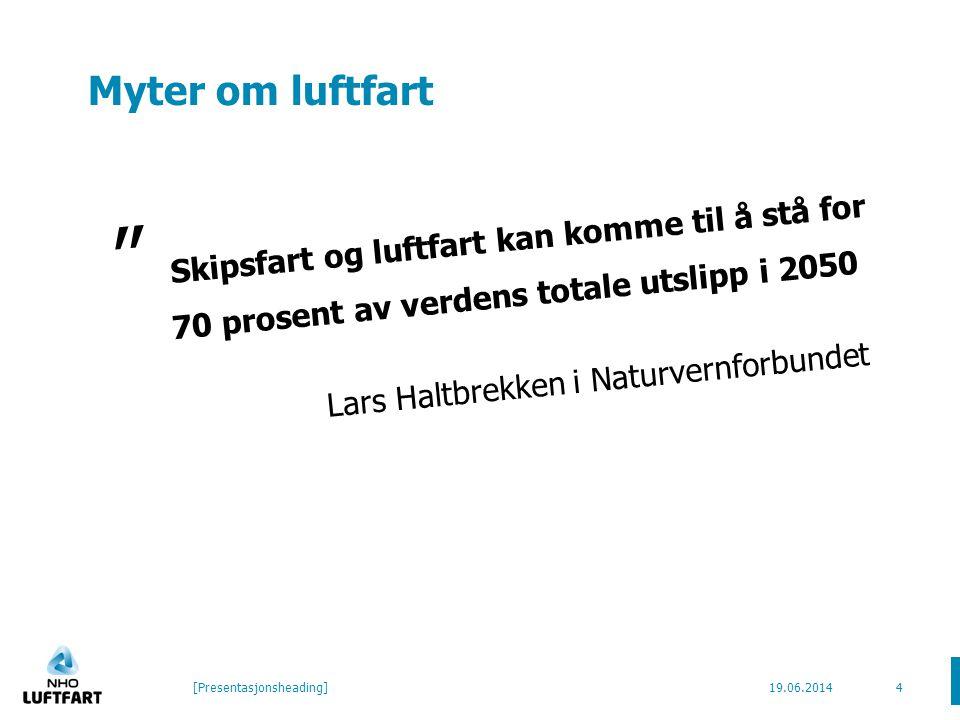 Myter om luftfart Skipsfart og luftfart kan komme til å stå for 70 prosent av verdens totale utslipp i 2050 Lars Haltbrekken i Naturvernforbundet