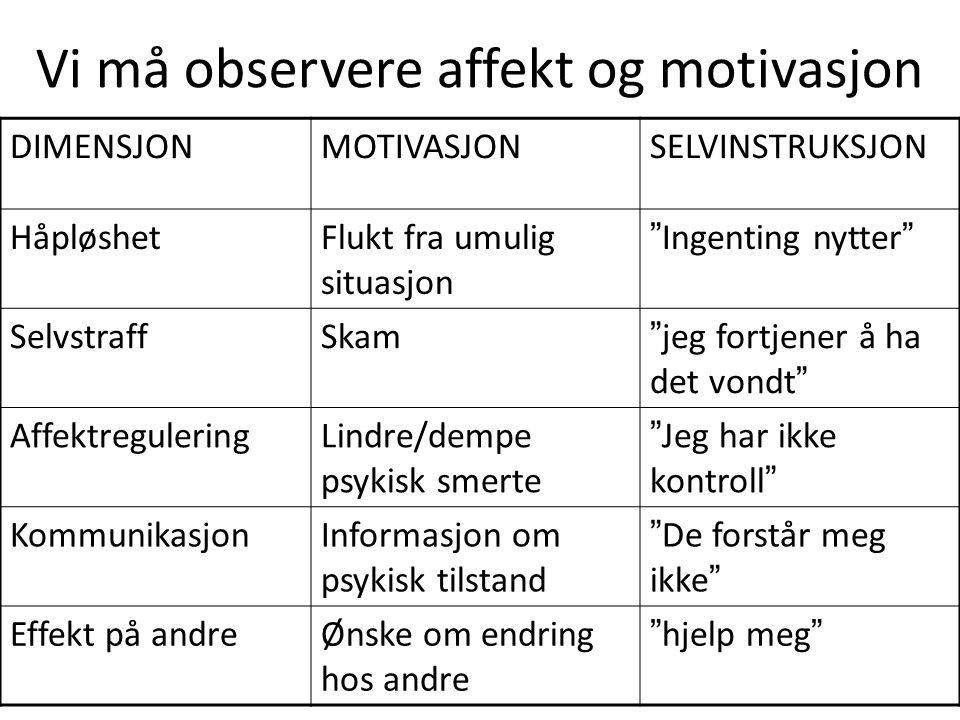 Vi må observere affekt og motivasjon