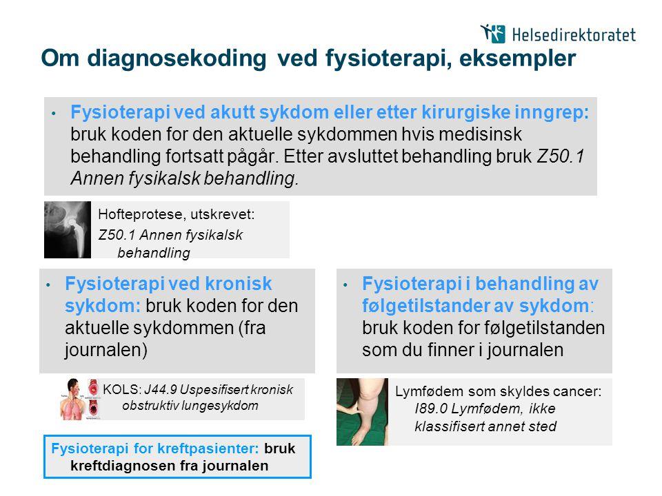 Om diagnosekoding ved fysioterapi, eksempler