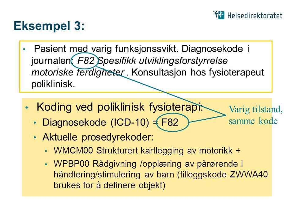 Eksempel 3: Koding ved poliklinisk fysioterapi: