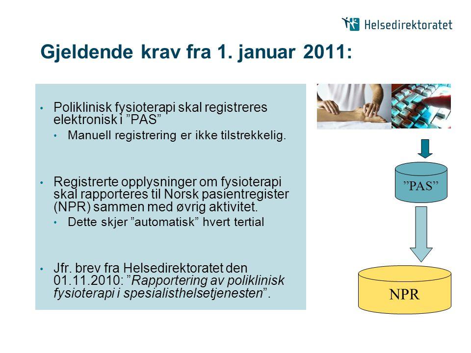 Gjeldende krav fra 1. januar 2011: