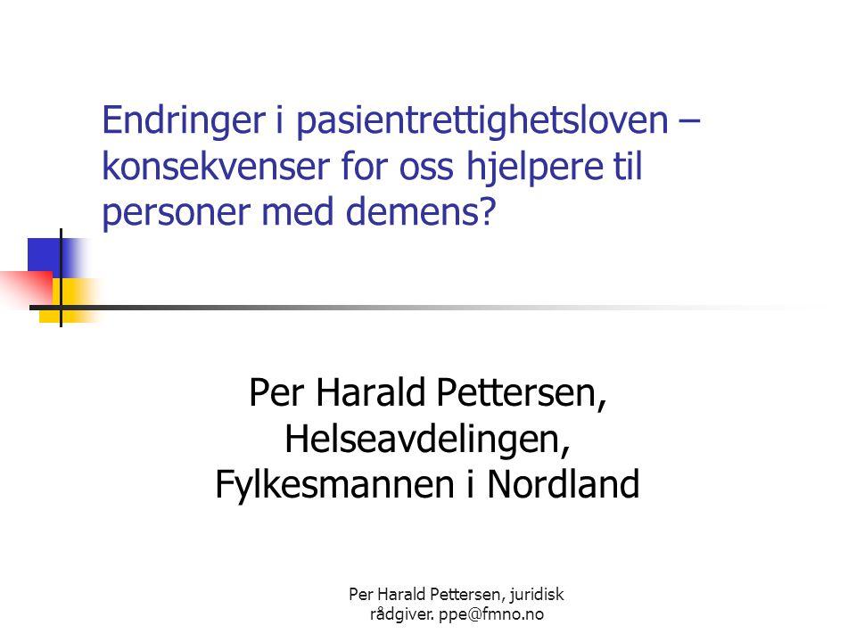 Per Harald Pettersen, Helseavdelingen, Fylkesmannen i Nordland