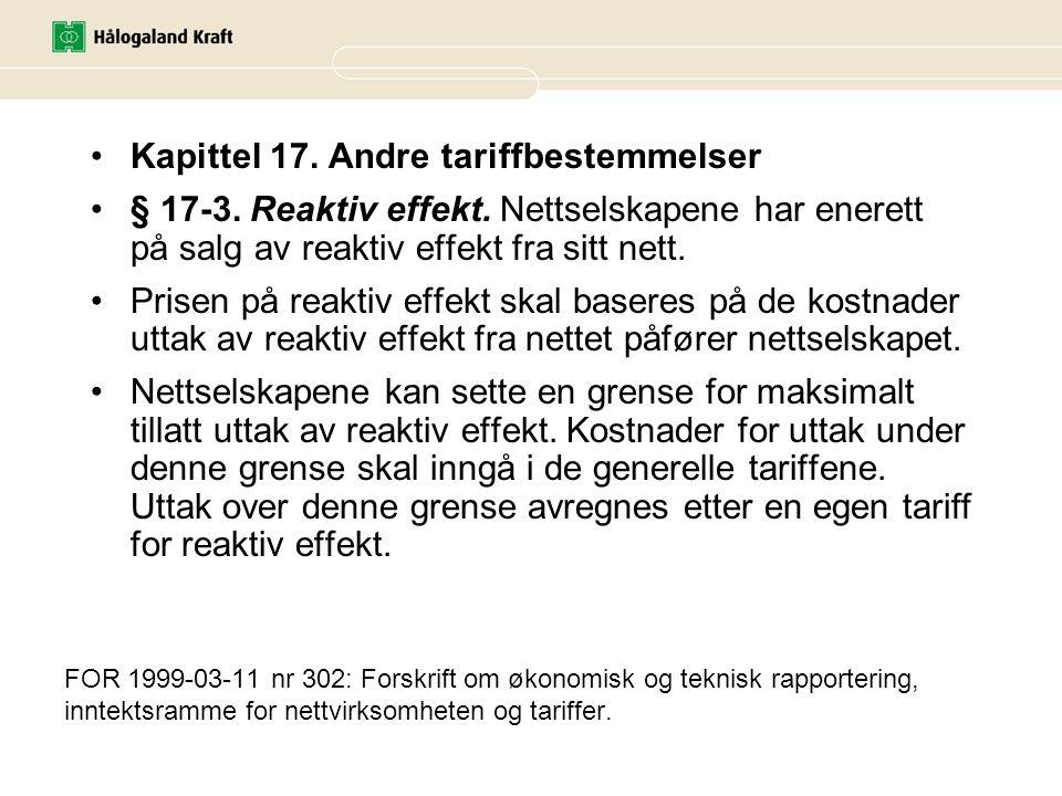 Kapittel 17. Andre tariffbestemmelser