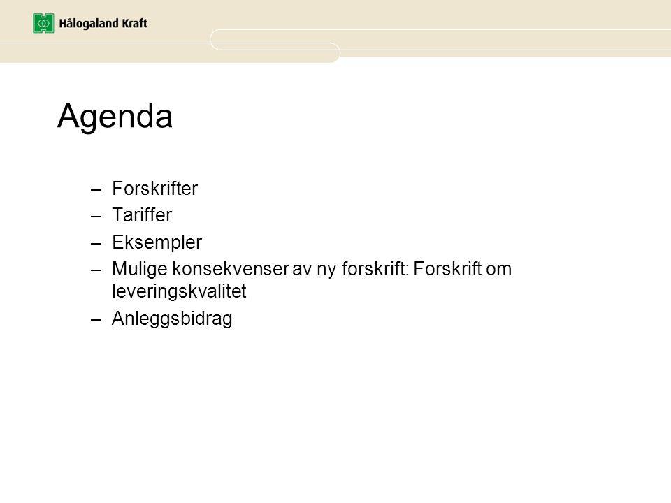 Agenda Forskrifter Tariffer Eksempler