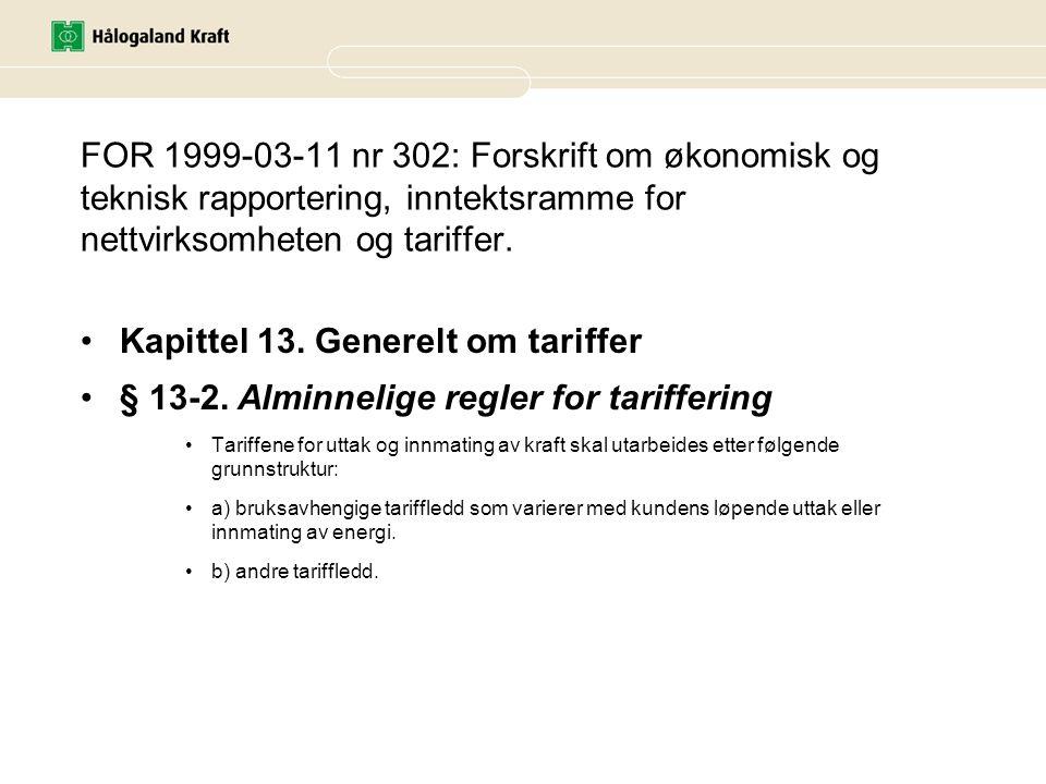 Kapittel 13. Generelt om tariffer