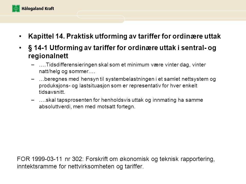 Kapittel 14. Praktisk utforming av tariffer for ordinære uttak
