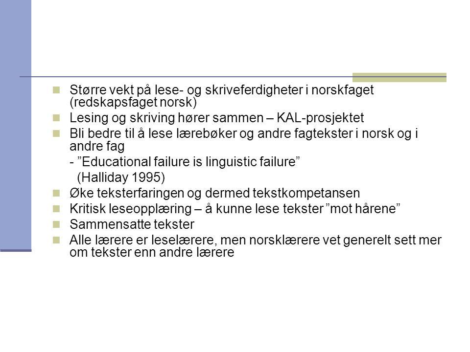 Større vekt på lese- og skriveferdigheter i norskfaget (redskapsfaget norsk)
