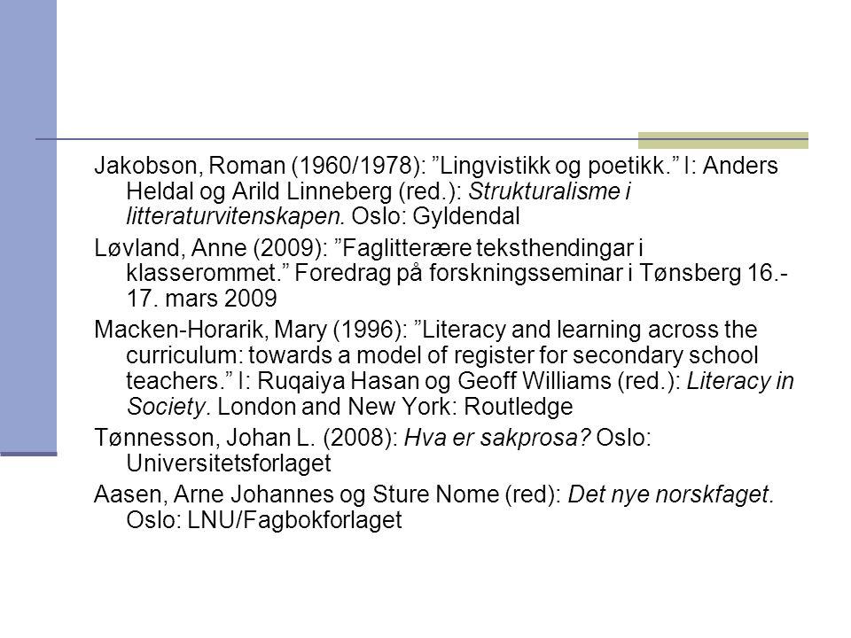 Jakobson, Roman (1960/1978): Lingvistikk og poetikk
