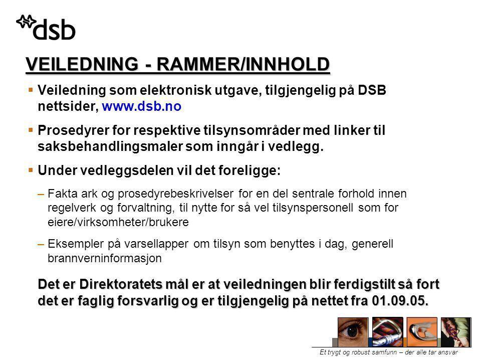VEILEDNING - RAMMER/INNHOLD