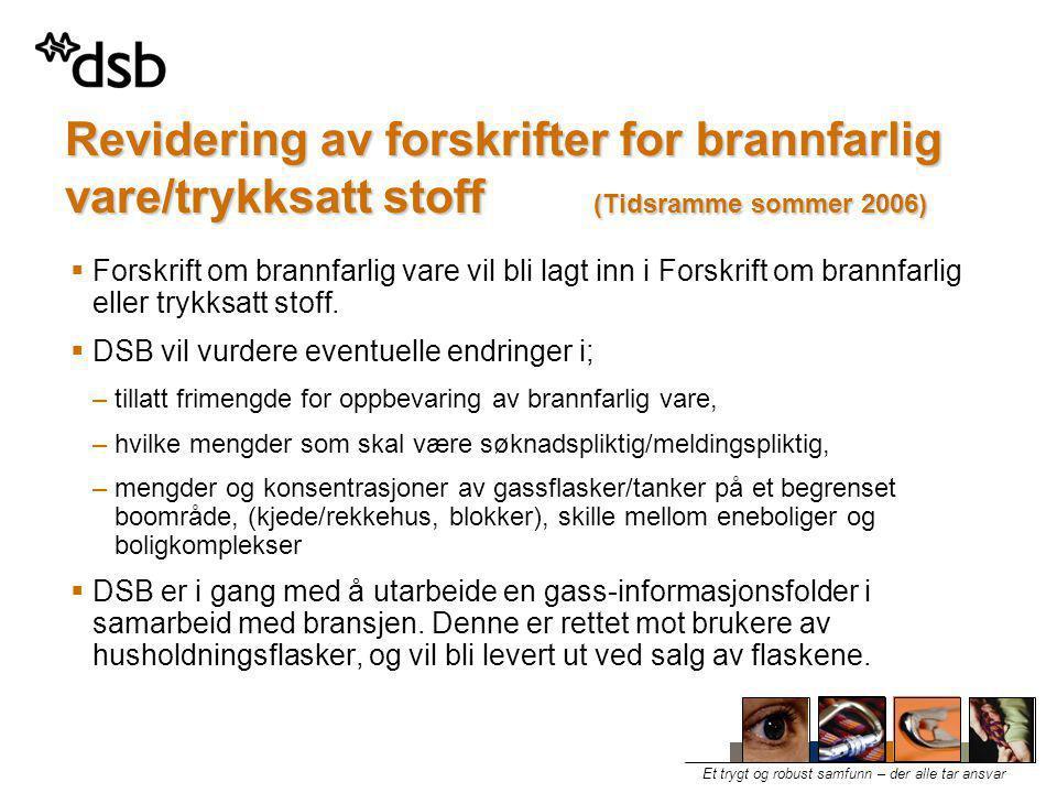 Revidering av forskrifter for brannfarlig vare/trykksatt stoff