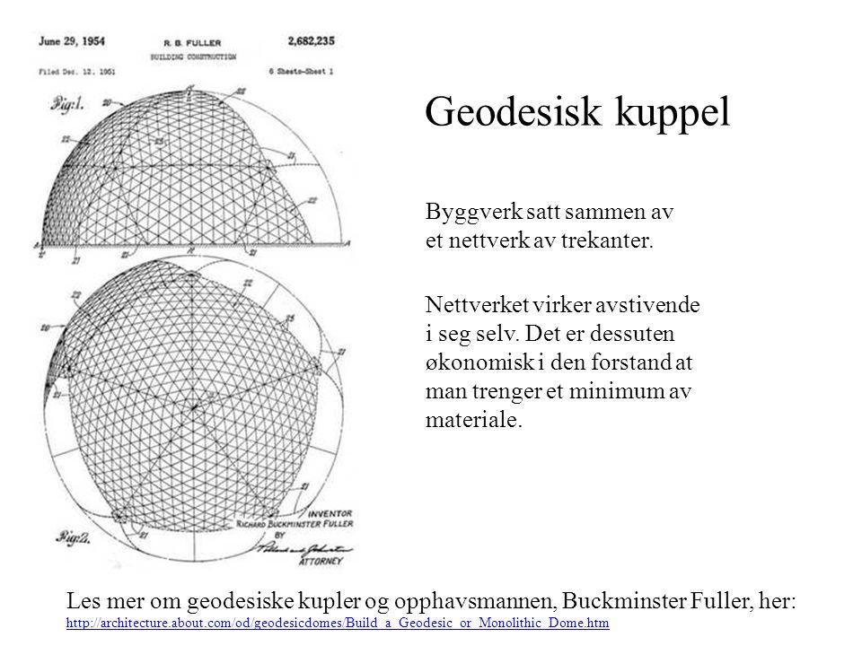 Geodesisk kuppel Byggverk satt sammen av et nettverk av trekanter.