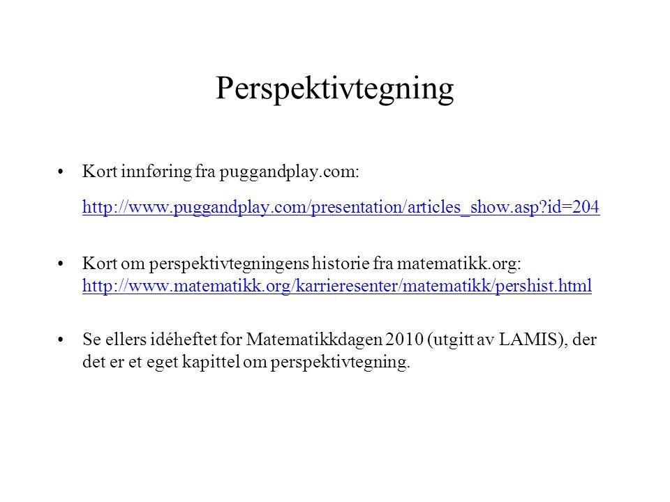 Perspektivtegning Kort innføring fra puggandplay.com: http://www.puggandplay.com/presentation/articles_show.asp id=204.