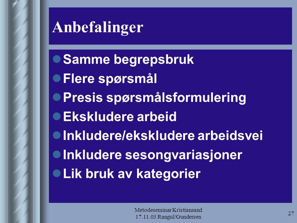 Metodeseminar Kristiansand 17.11.03 Rangul/Gundersen