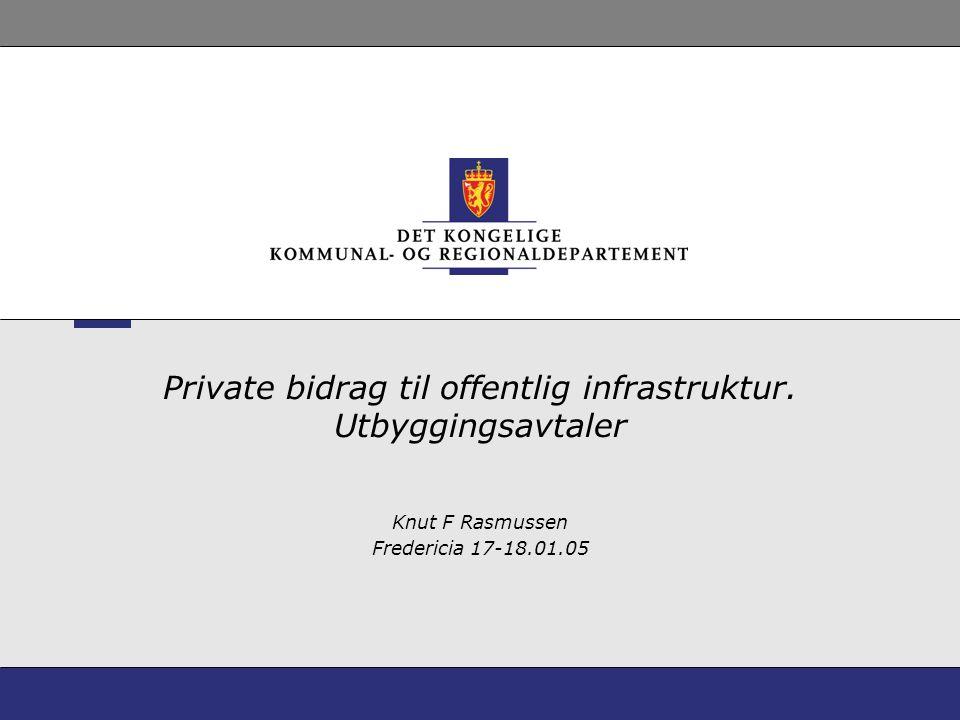Private bidrag til offentlig infrastruktur. Utbyggingsavtaler