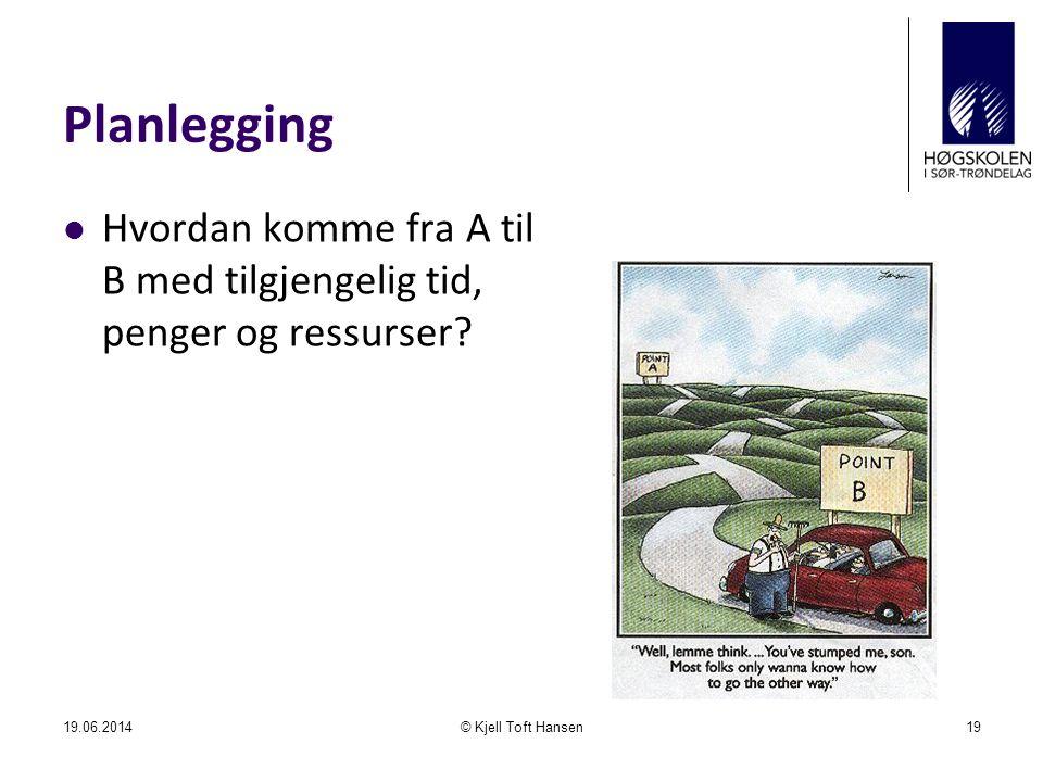 Planlegging Hvordan komme fra A til B med tilgjengelig tid, penger og ressurser.