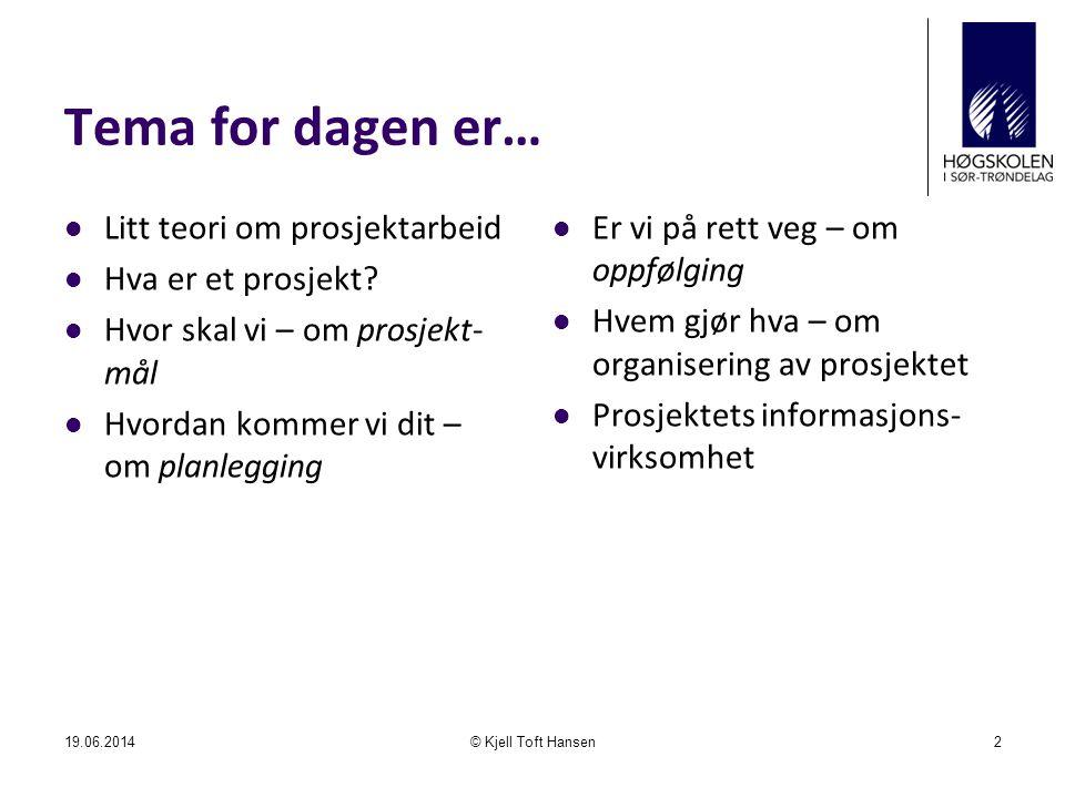 Tema for dagen er… Litt teori om prosjektarbeid Hva er et prosjekt
