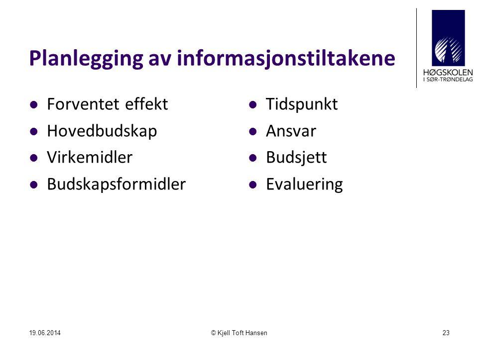 Planlegging av informasjonstiltakene