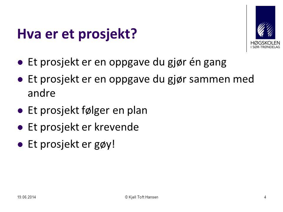 Hva er et prosjekt Et prosjekt er en oppgave du gjør én gang