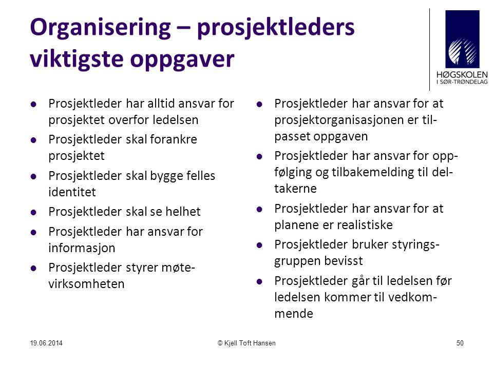 Organisering – prosjektleders viktigste oppgaver