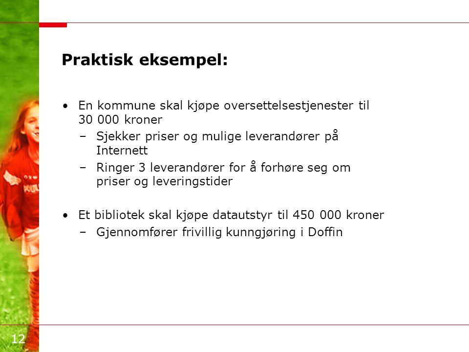 Praktisk eksempel: En kommune skal kjøpe oversettelsestjenester til 30 000 kroner. Sjekker priser og mulige leverandører på Internett.