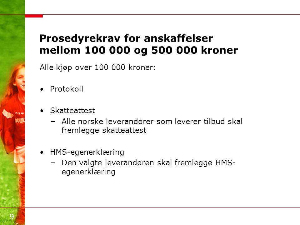 Prosedyrekrav for anskaffelser mellom 100 000 og 500 000 kroner