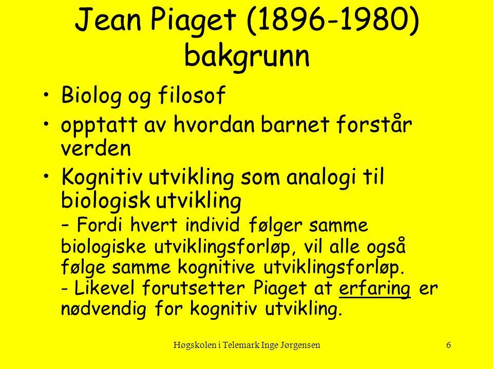 Jean Piaget (1896-1980) bakgrunn