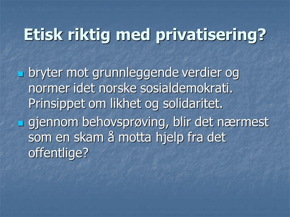 Etisk riktig med privatisering