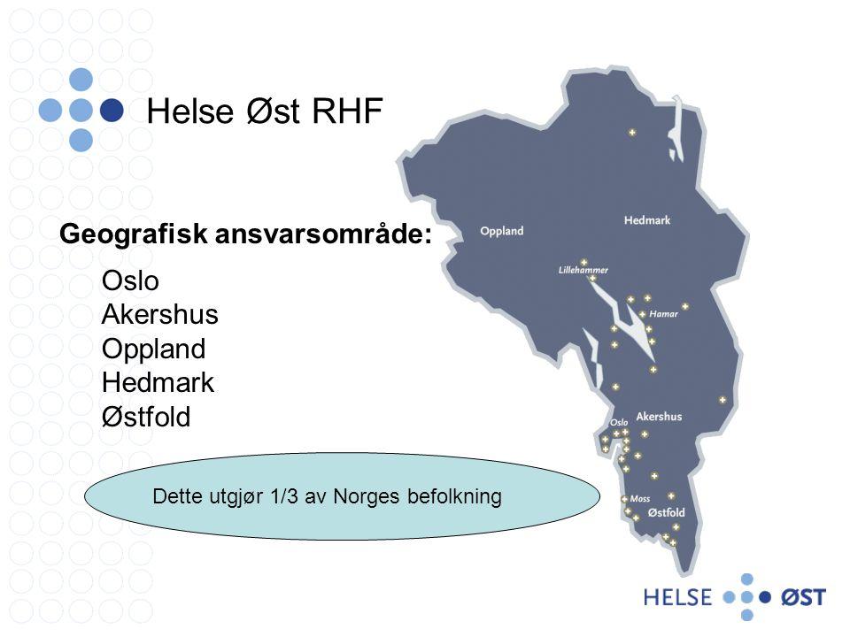 Helse Øst RHF Geografisk ansvarsområde: Oslo Akershus Oppland Hedmark
