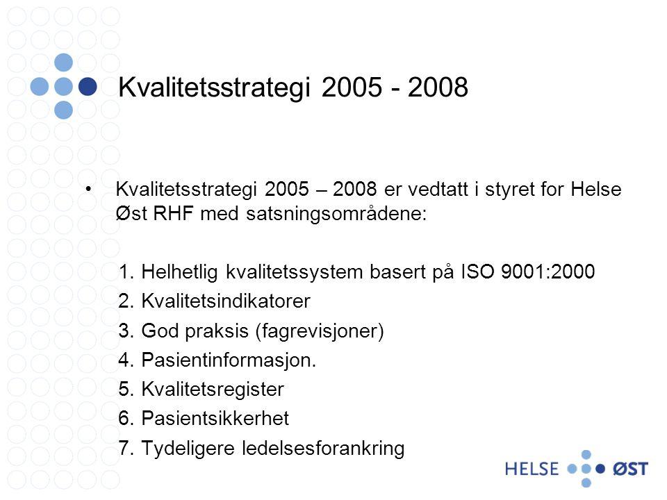 Kvalitetsstrategi 2005 - 2008 Kvalitetsstrategi 2005 – 2008 er vedtatt i styret for Helse Øst RHF med satsningsområdene: