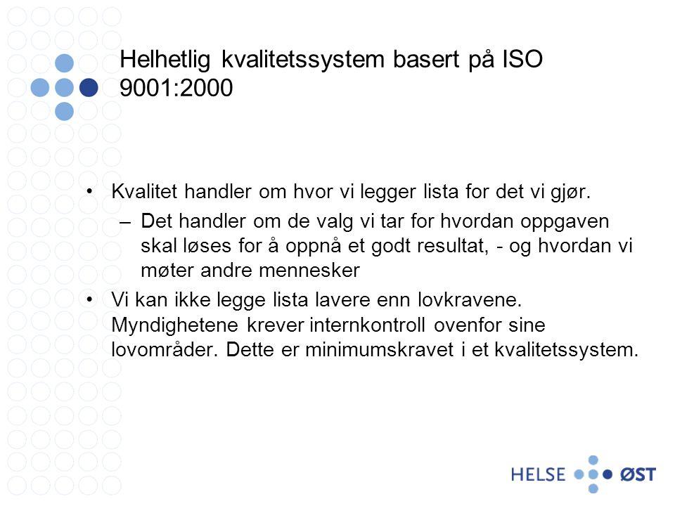 Helhetlig kvalitetssystem basert på ISO 9001:2000