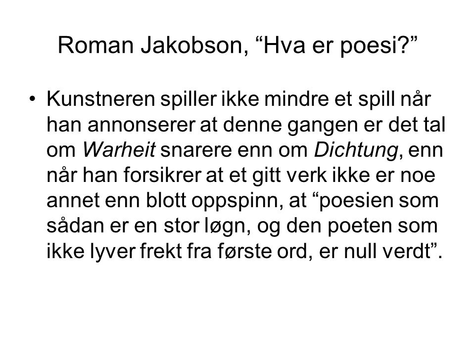 Roman Jakobson, Hva er poesi
