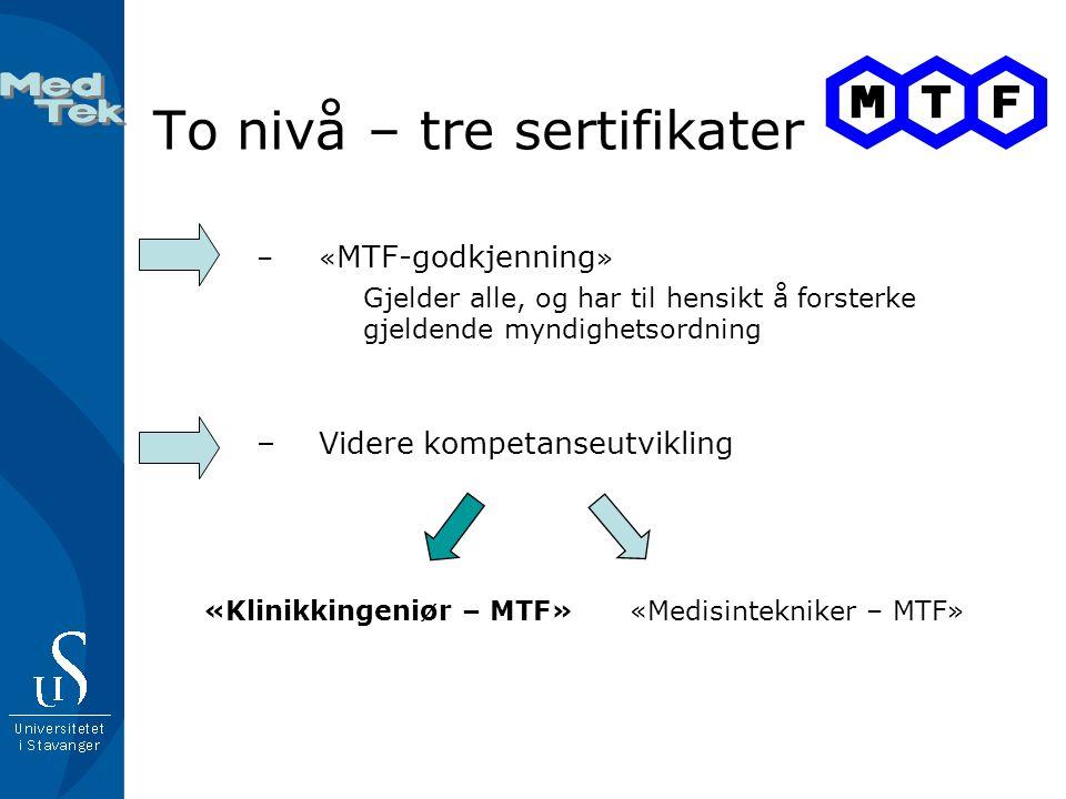 To nivå – tre sertifikater