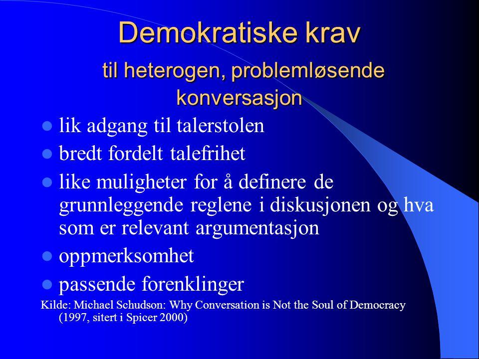Demokratiske krav til heterogen, problemløsende konversasjon