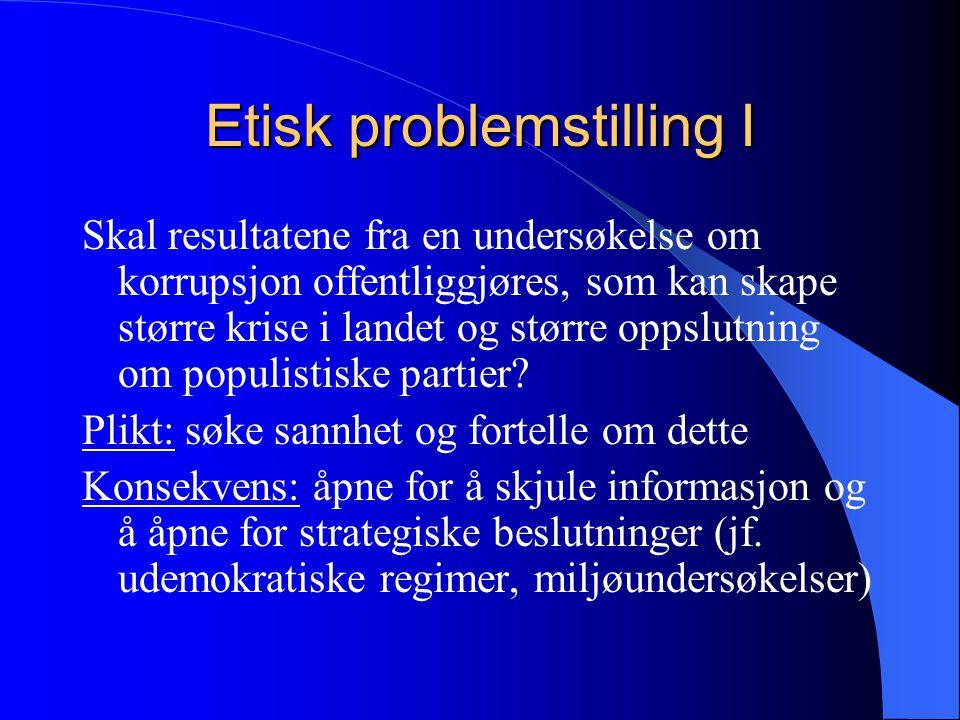 Etisk problemstilling I