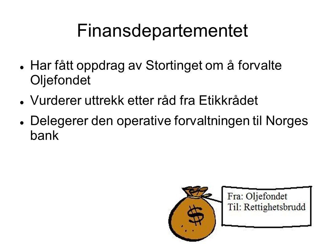 Finansdepartementet Har fått oppdrag av Stortinget om å forvalte Oljefondet. Vurderer uttrekk etter råd fra Etikkrådet.
