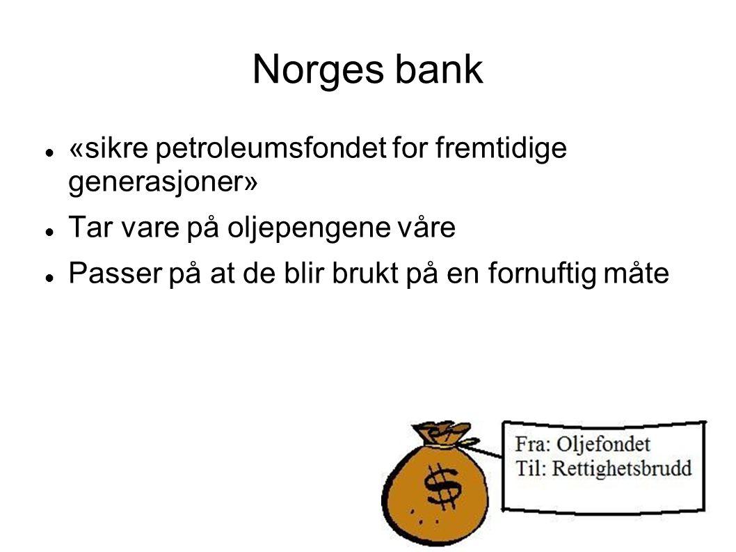 Norges bank «sikre petroleumsfondet for fremtidige generasjoner»