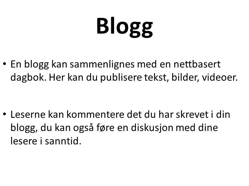 Blogg En blogg kan sammenlignes med en nettbasert dagbok. Her kan du publisere tekst, bilder, videoer.